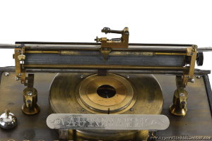 Automatic Typewriter Closeup with carriage raised