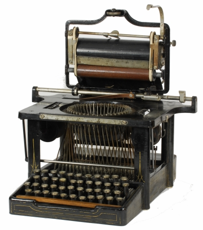 Early Remington 4 understrike typewriter with carriage raised.